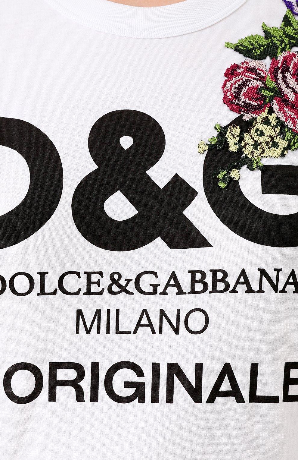 Хлопковая футболка с надписью и вышивкой Dolce & Gabbana белая | Фото №5