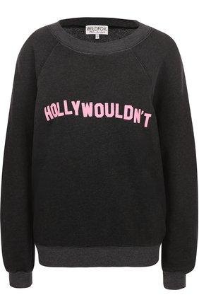 Пуловер свободного кроя с контрастной надписью Wildfox черный   Фото №1
