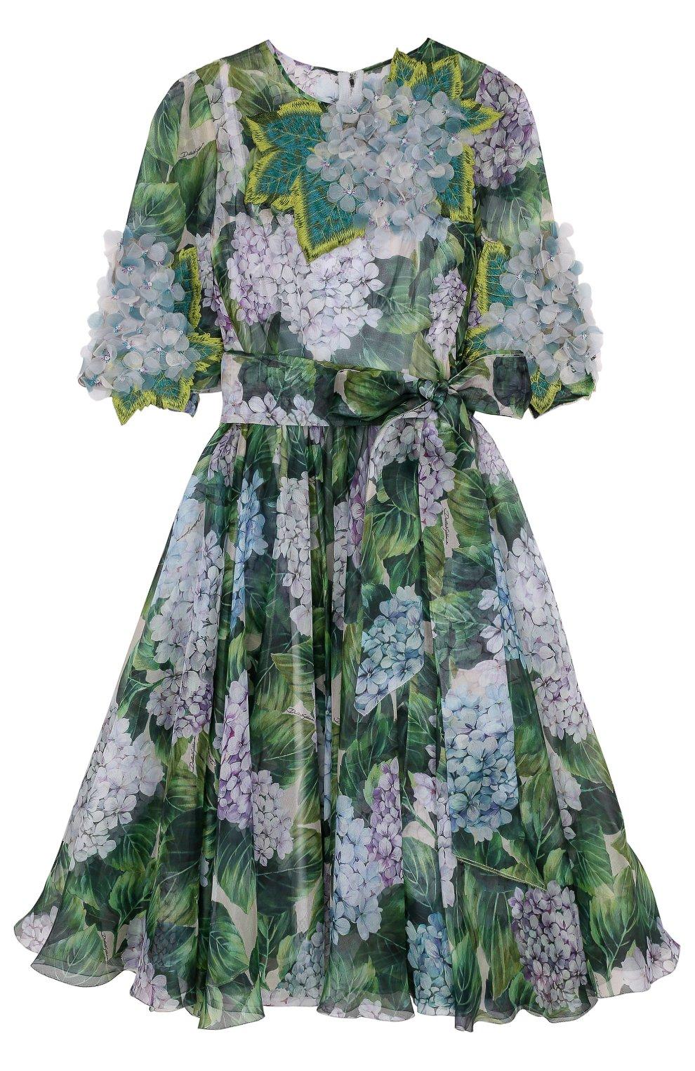 Приталенное платье-миди с цветочным принтом   Фото №1