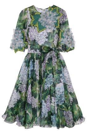 Приталенное платье-миди с цветочным принтом Dolce & Gabbana зеленое   Фото №1