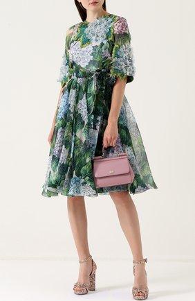 Приталенное платье-миди с цветочным принтом Dolce & Gabbana зеленое   Фото №2