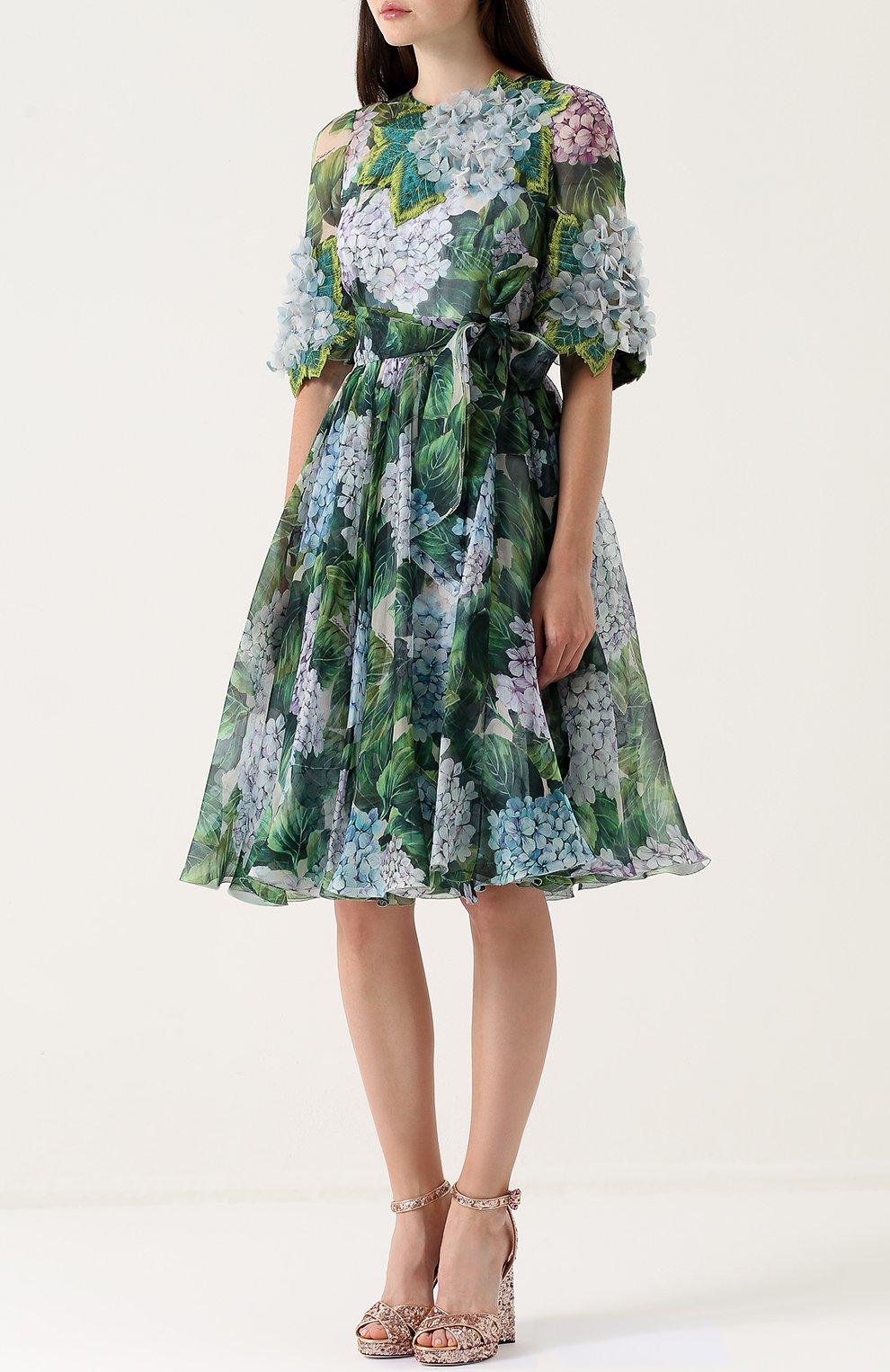 Приталенное платье-миди с цветочным принтом Dolce & Gabbana зеленое   Фото №3