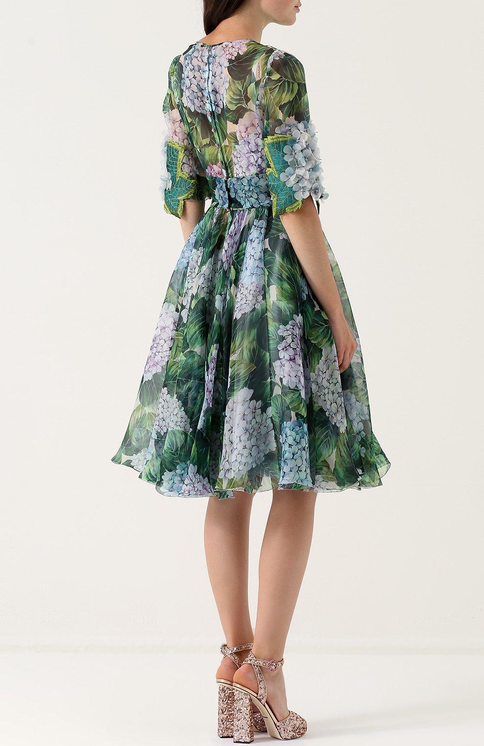 Приталенное платье-миди с цветочным принтом Dolce & Gabbana зеленое   Фото №4