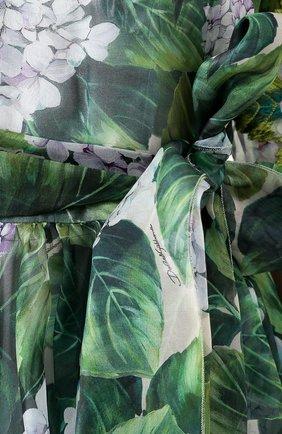 Приталенное платье-миди с цветочным принтом Dolce & Gabbana зеленое   Фото №5