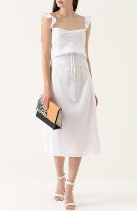 Приталенное хлопковое платье с оборками Rachel Comey белое | Фото №1