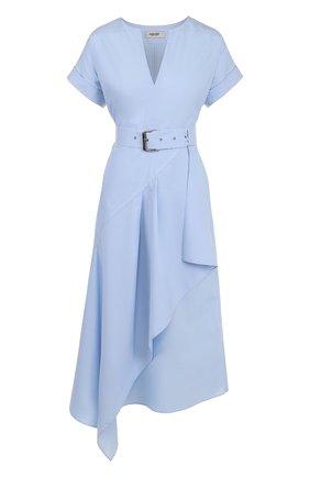 Хлопковое платье асимметричного кроя с поясом | Фото №1