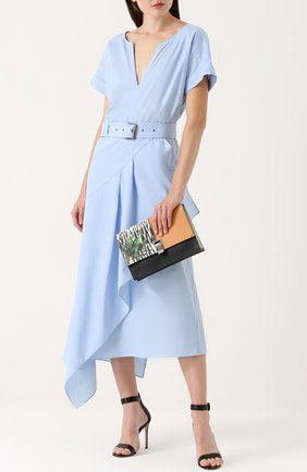 Хлопковое платье асимметричного кроя с поясом Rachel Comey голубое | Фото №1