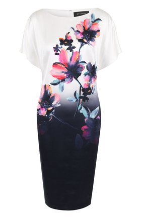 Шелковое платье с вырезом-лодочка и принтом | Фото №1