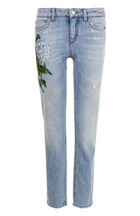 Джинсы с потертостями и вышивкой Dolce & Gabbana голубые   Фото №1