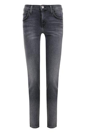 Укороченные джинсы-скинни с потертостями Current/Elliott серые   Фото №1
