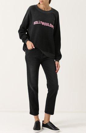 Укороченные джинсы прямого кроя с потертостями Current/Elliott черные   Фото №1