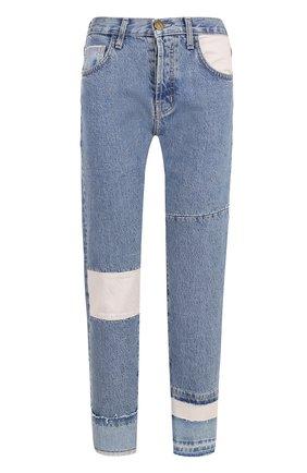 Укороченные джинсы прямого кроя с потертостями Current/Elliott голубые   Фото №1