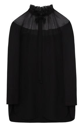 Шелковая блуза с полупрозрачной вставкой и воротником аскот | Фото №1