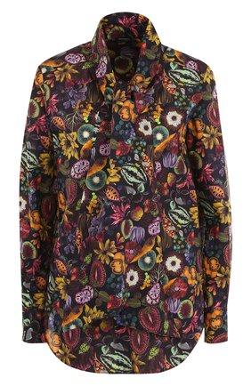 Хлопковая блуза с принтом и воротником аскот | Фото №1