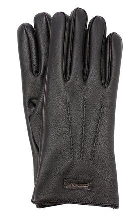 Мужские кожаные перчатки с кашемировой подкладкой GIORGIO ARMANI черного цвета, арт. 744138/7A208 | Фото 1