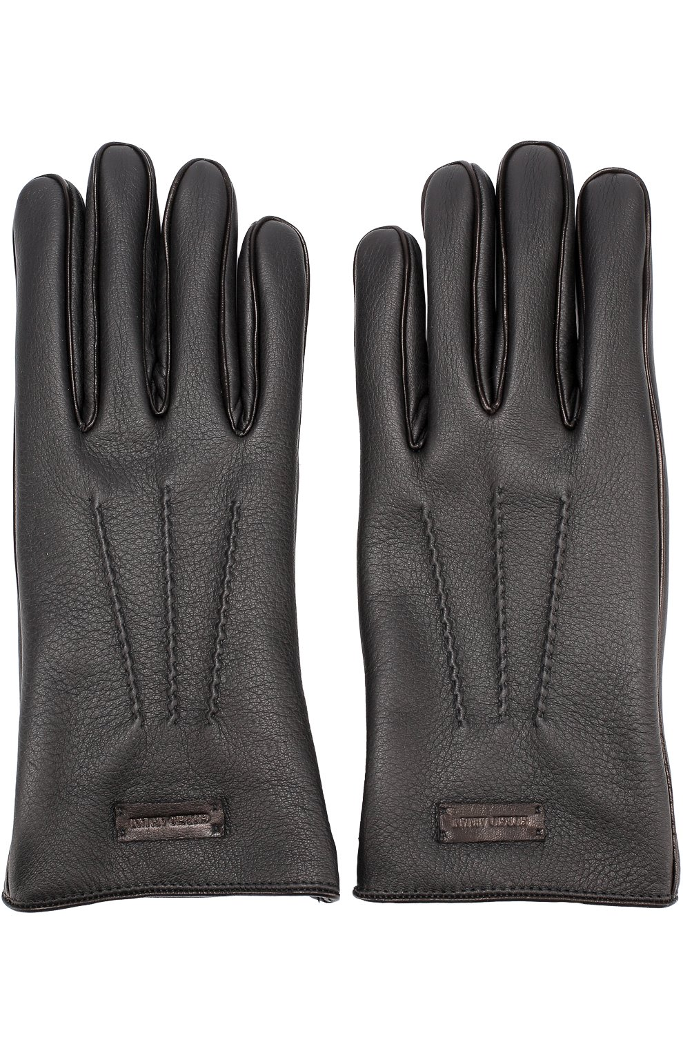 Мужские кожаные перчатки с кашемировой подкладкой GIORGIO ARMANI черного цвета, арт. 744138/7A208 | Фото 2