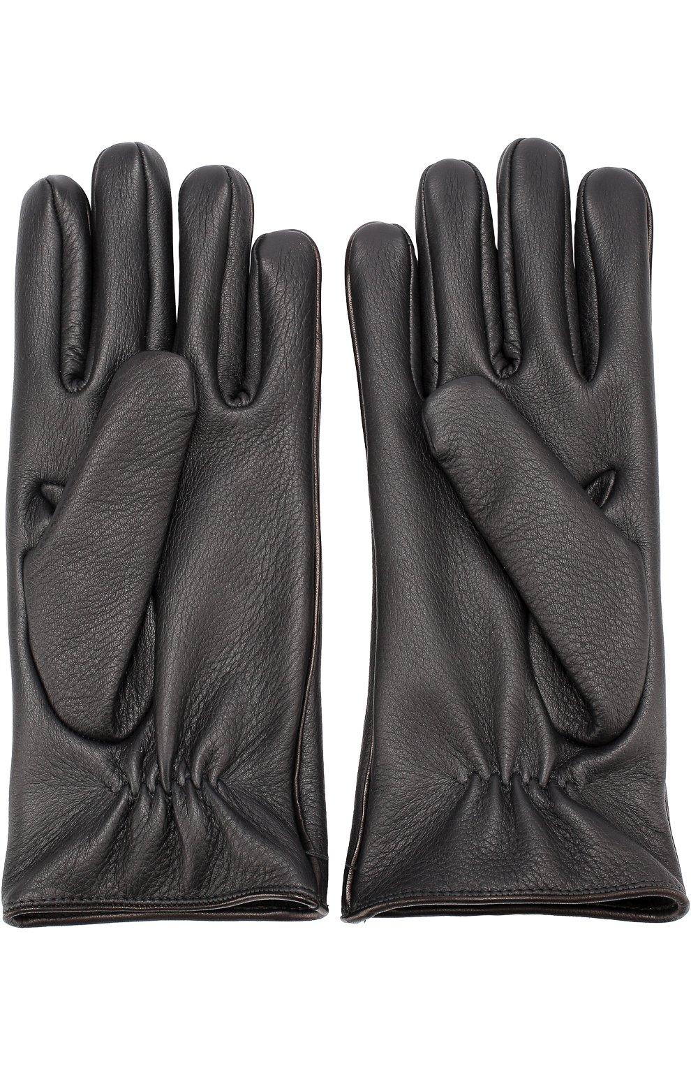 Мужские кожаные перчатки с кашемировой подкладкой GIORGIO ARMANI черного цвета, арт. 744138/7A208 | Фото 3