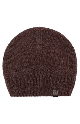 Мужская шерстяная вязаная шапка GIORGIO ARMANI темно-коричневого цвета, арт. 747304/7A511 | Фото 1