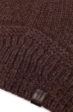 Мужская шерстяная вязаная шапка GIORGIO ARMANI темно-коричневого цвета, арт. 747304/7A511 | Фото 3