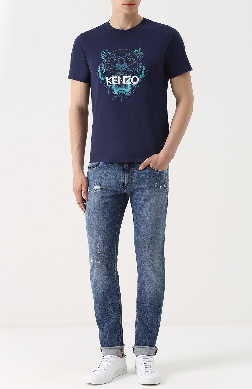 Джинсы прямого кроя с декоративными потертостями Dolce & Gabbana синие | Фото №2