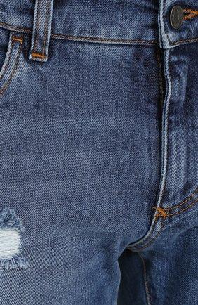 Джинсы прямого кроя с декоративными потертостями Dolce & Gabbana синие | Фото №5