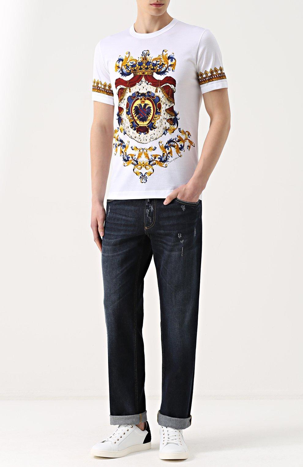 Хлопковая футболка с принтом Dolce & Gabbana белая   Фото №2