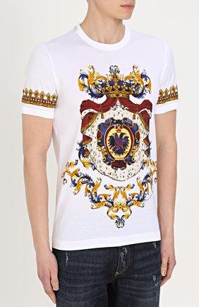 Хлопковая футболка с принтом Dolce & Gabbana белая   Фото №3