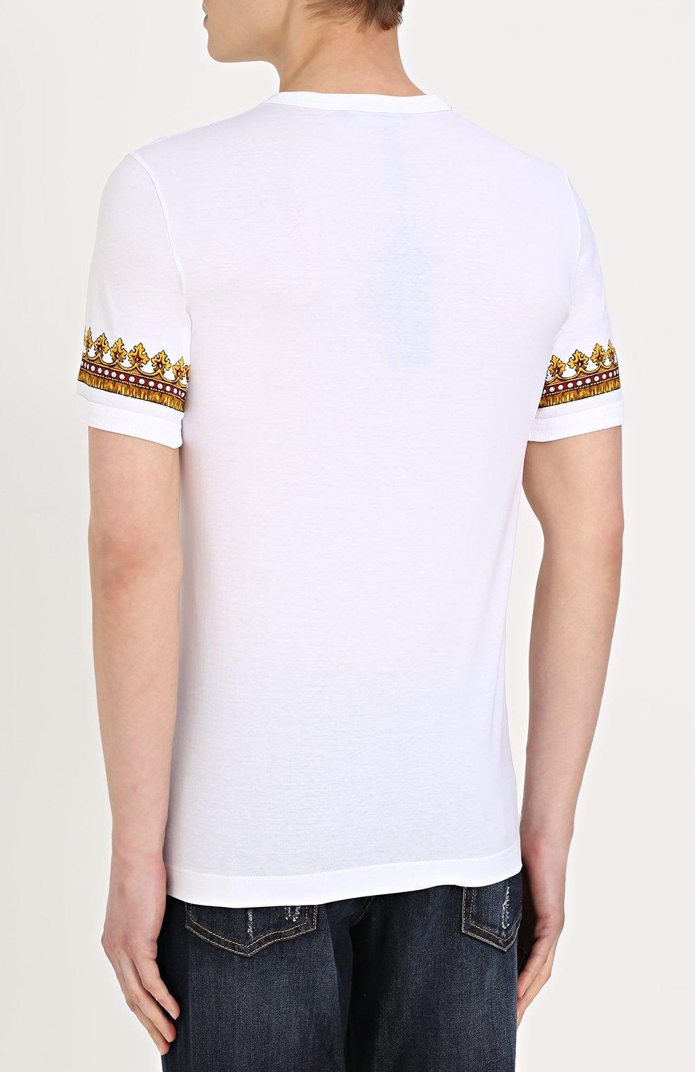 Хлопковая футболка с принтом Dolce & Gabbana белая   Фото №4