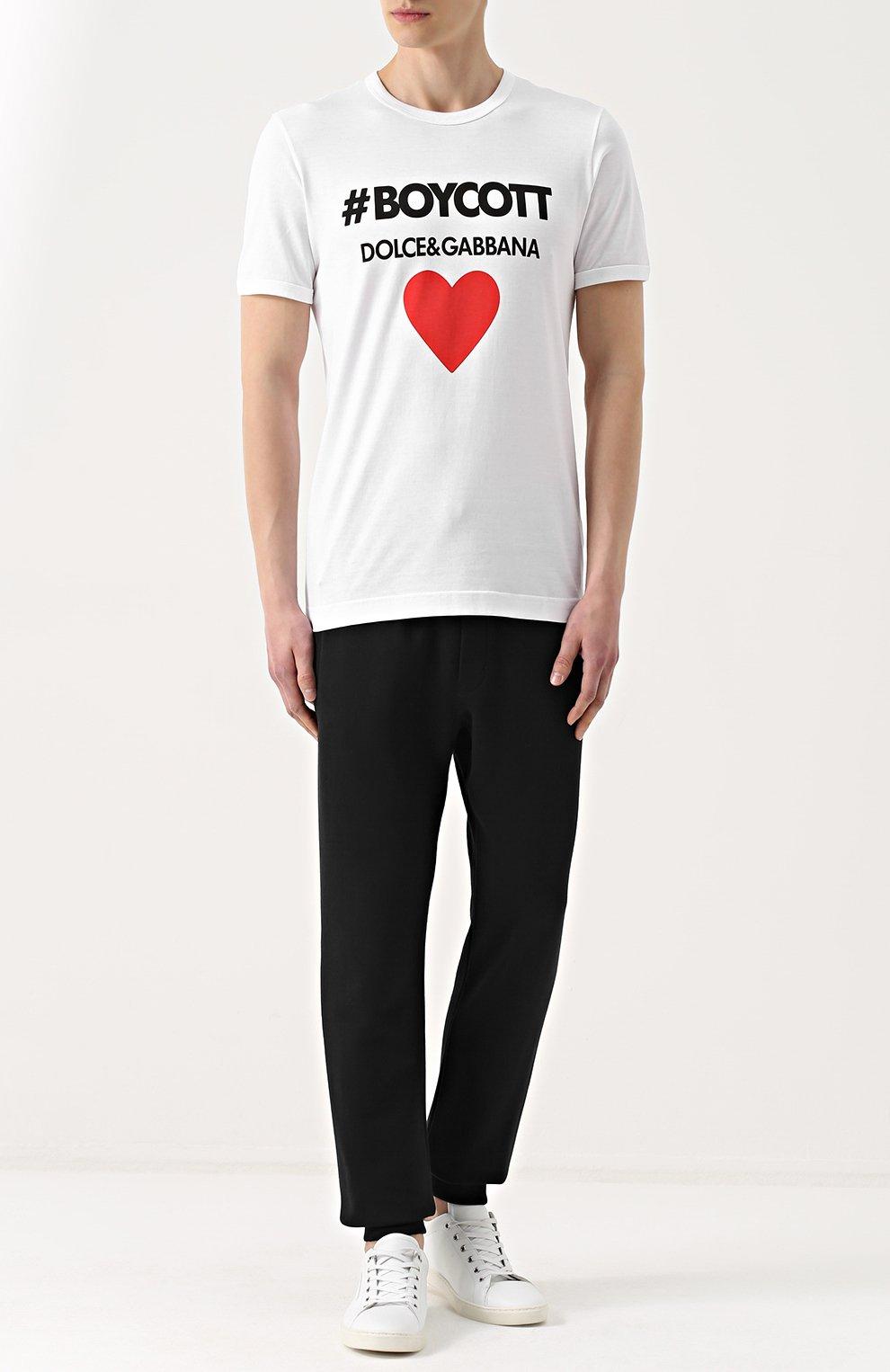 Хлопковая футболка с контрастной надписью Dolce & Gabbana белая | Фото №2