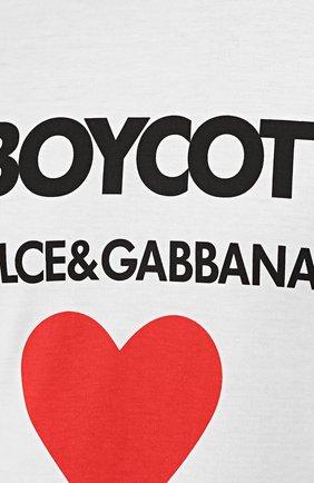 Хлопковая футболка с контрастной надписью Dolce & Gabbana белая | Фото №5