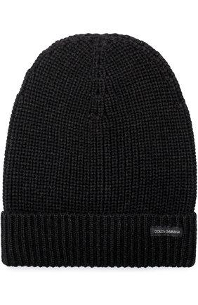 Шерстяная шапка бини Dolce & Gabbana серого цвета   Фото №1