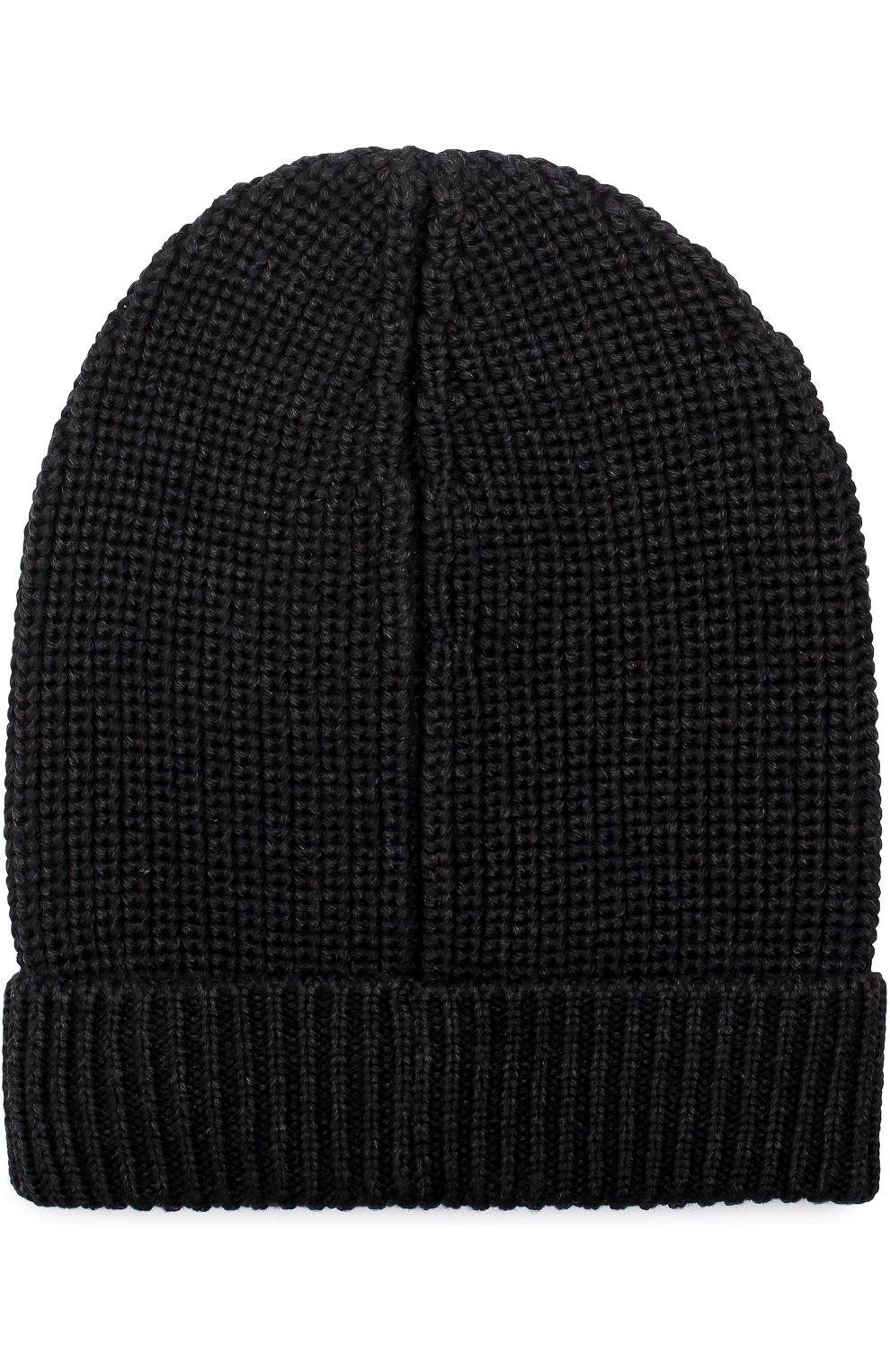 Шерстяная шапка бини Dolce & Gabbana серого цвета   Фото №2