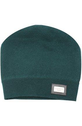Кашемировая шапка бини Dolce & Gabbana зеленого цвета | Фото №1