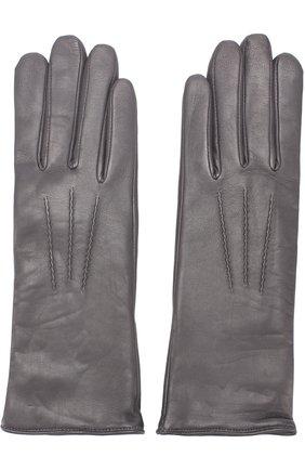 Женские кожаные перчатки с подкладкой из шерсти AGNELLE темно-серого цвета, арт. GRACE/A | Фото 2