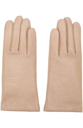 Кожаные перчатки с подкладкой из кашемира и шерсти Agnelle бежевые | Фото №1
