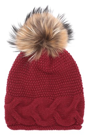 Вязаная шапка из шерсти с помпоном   Фото №1