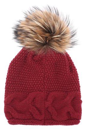 Вязаная шапка из шерсти с помпоном Artiminesi бордового цвета | Фото №2