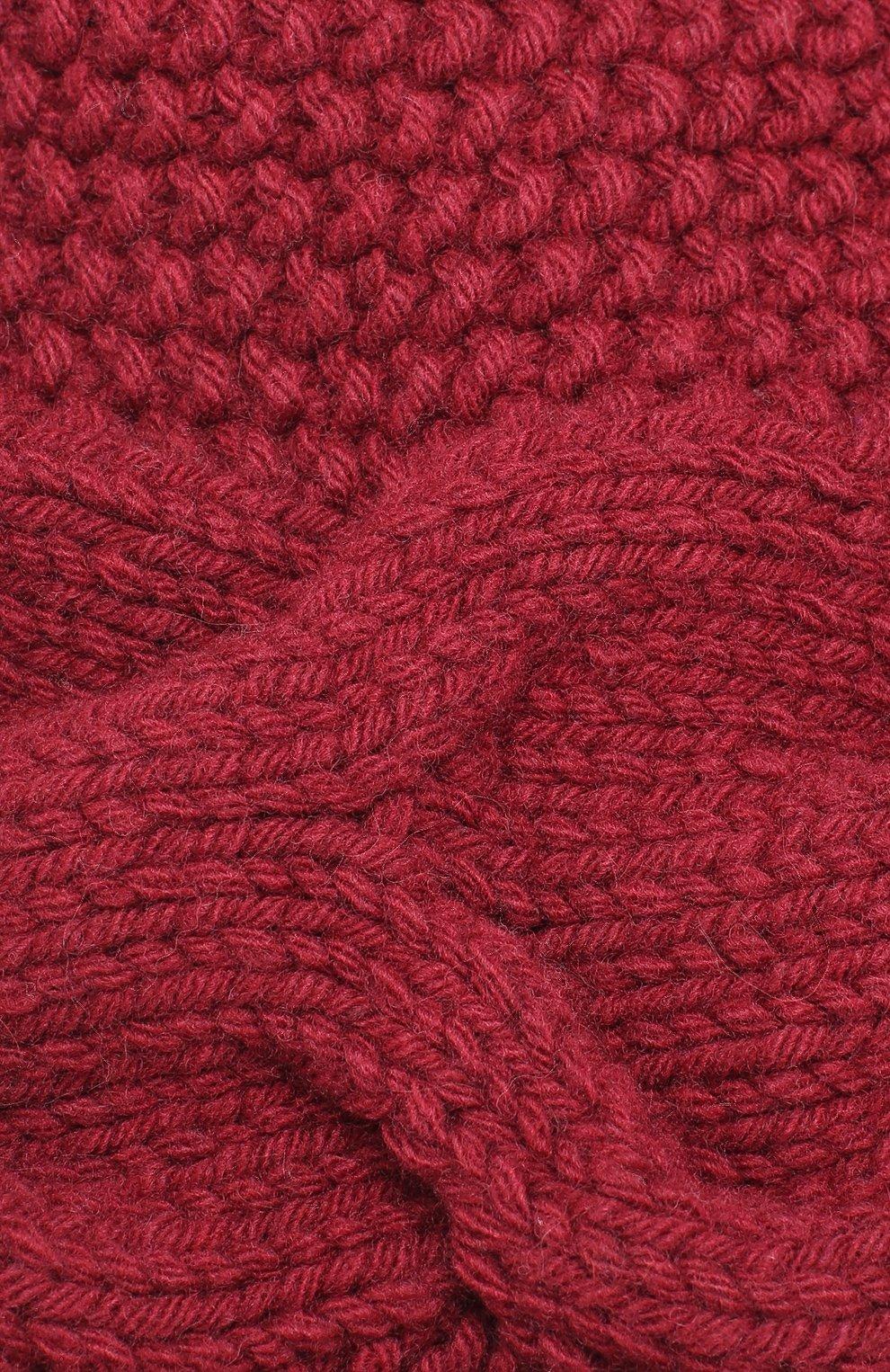 Вязаная шапка из шерсти с помпоном Artiminesi бордового цвета | Фото №3