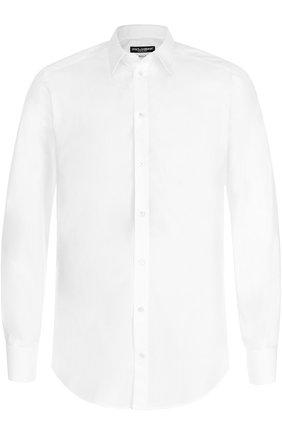 Мужская хлопковая сорочка с воротником кент DOLCE & GABBANA белого цвета, арт. 0101/G5EJ0T/FUEAJ | Фото 1