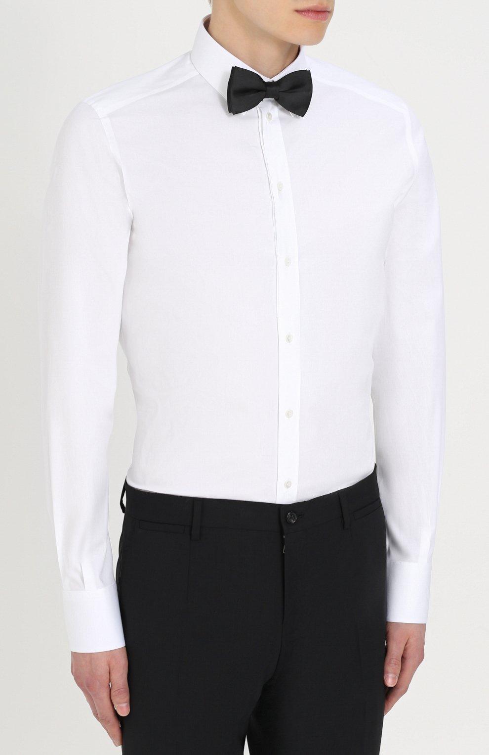 Хлопковая сорочка с воротником кент Dolce & Gabbana белая   Фото №3