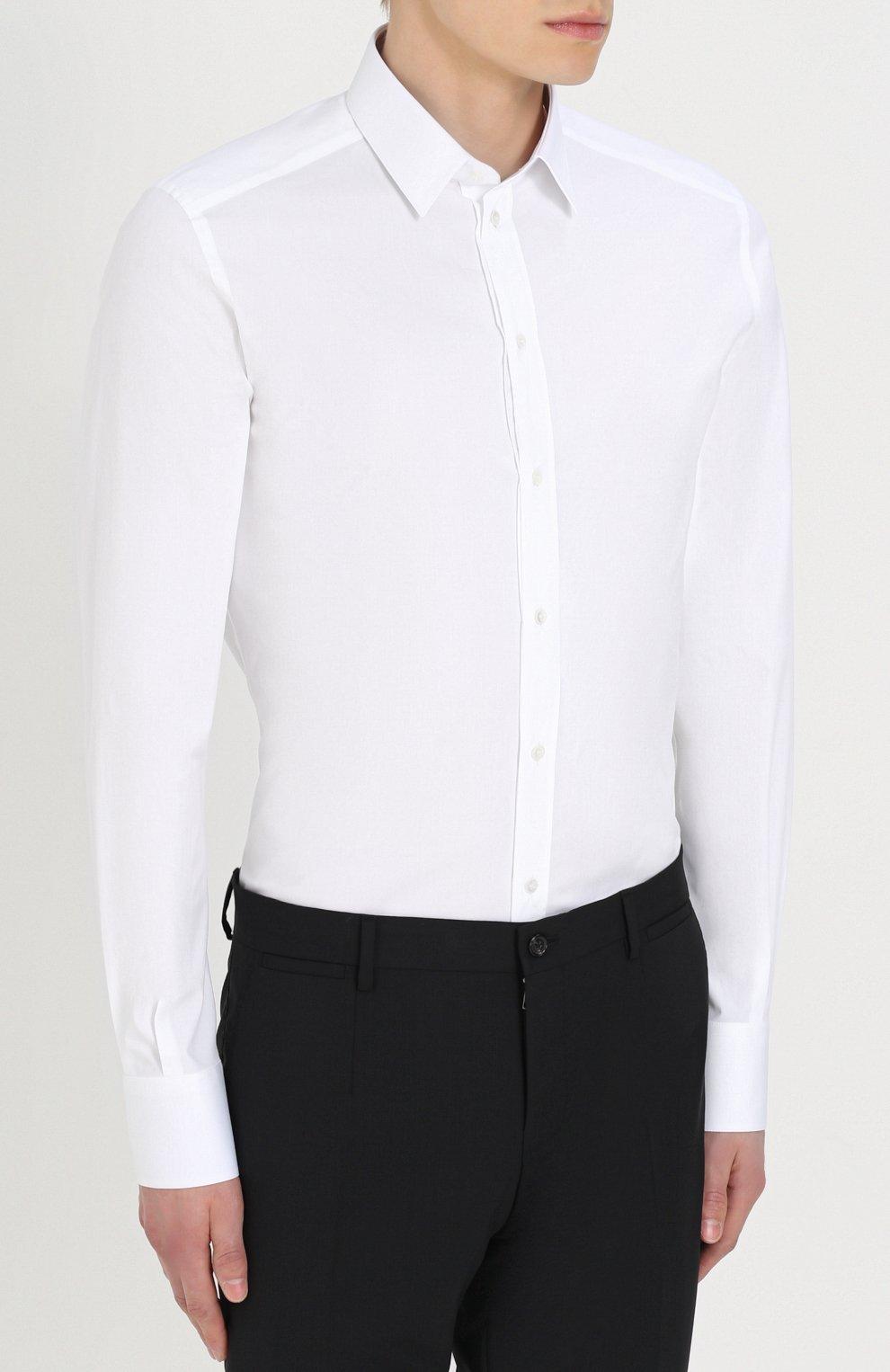Хлопковая сорочка с воротником кент Dolce & Gabbana белая   Фото №4