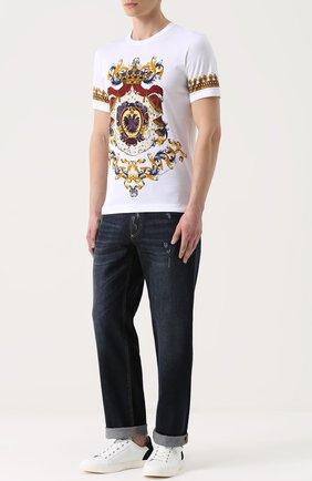 Кожаные кеды London с замшевой отделкой задника Dolce & Gabbana белые | Фото №2