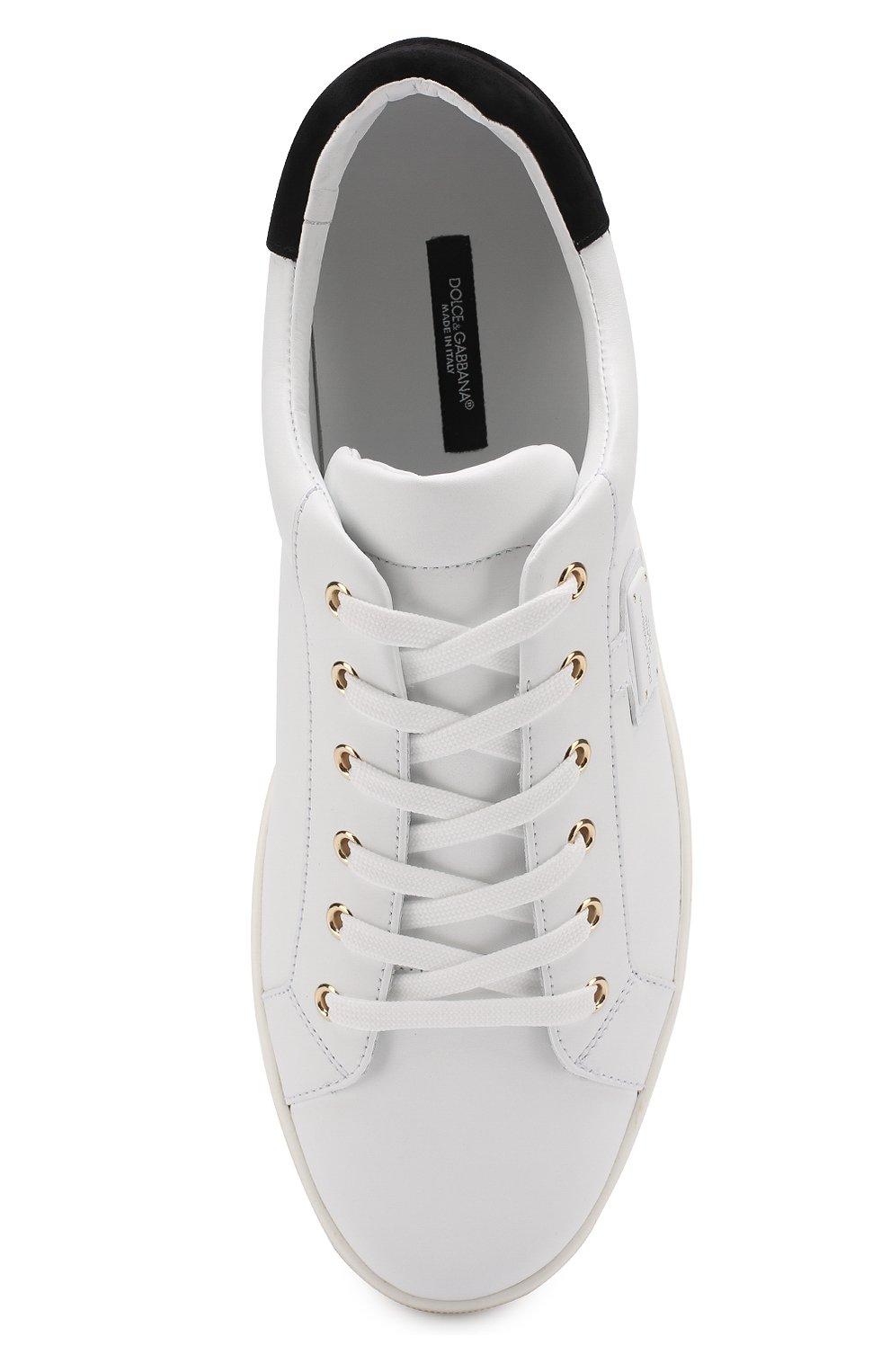 Кожаные кеды London с замшевой отделкой задника Dolce & Gabbana белые | Фото №5