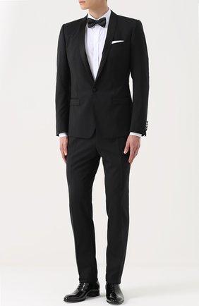 Шерстяной приталенный смокинг с шелковой отделкой Dolce & Gabbana черный | Фото №1