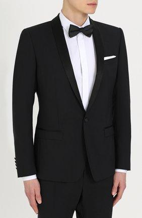 Шерстяной приталенный смокинг с шелковой отделкой Dolce & Gabbana черный | Фото №2