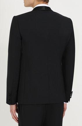 Шерстяной приталенный смокинг с шелковой отделкой Dolce & Gabbana черный | Фото №3
