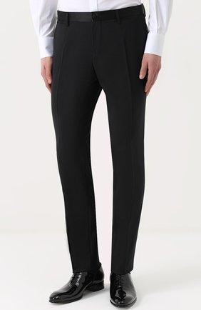 Шерстяной приталенный смокинг с шелковой отделкой Dolce & Gabbana черный | Фото №4