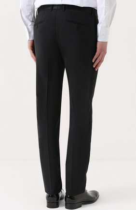 Шерстяной приталенный смокинг с шелковой отделкой Dolce & Gabbana черный | Фото №5