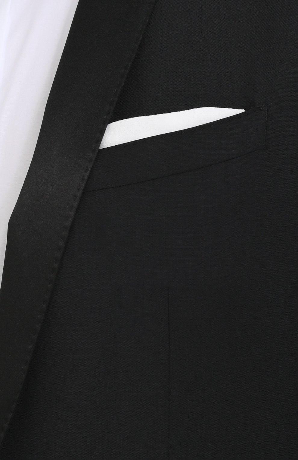 Шерстяной приталенный смокинг с шелковой отделкой Dolce & Gabbana черный | Фото №6