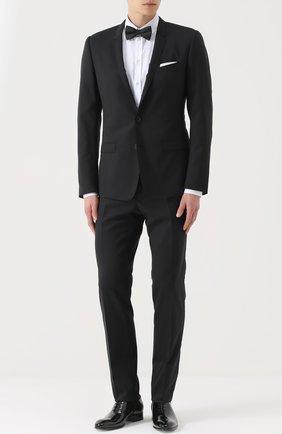 Шерстяной костюм с пиджаком на двух пуговицах Dolce & Gabbana черный | Фото №1